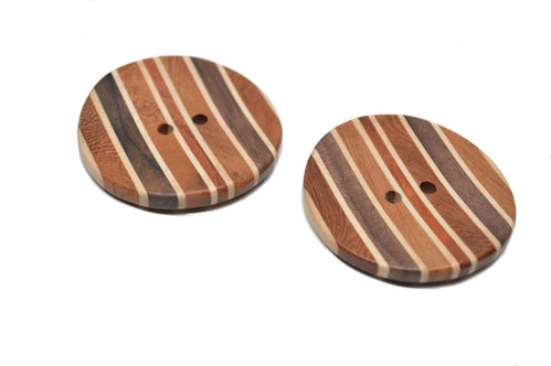 Wood Inlay Buttons - Set of 2