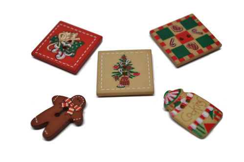 Christmas Buttons - Set of 5
