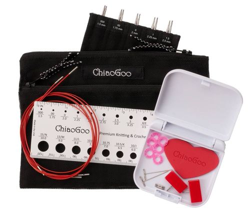 "ChiaoGoo Twist Minis Red Lace Interchangeable 4"" Needle Set - US 000 - 1.5"