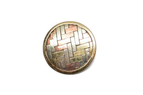 Medium Round Woven Metal Button