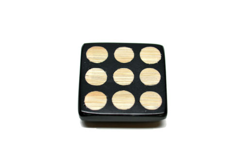 Bamboo with Resin - Lg Black Square with Dots