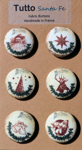 32 mm French Fabric Buttons - Christmas - Set of 6 Buttons