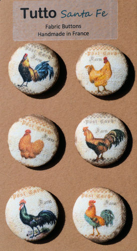 French Fabric Buttons - Roosters and Hens - Set of 6 Buttons