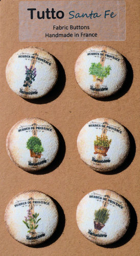 32 mm French Fabric Buttons - Herbes de Provence - Set of 6 Buttons