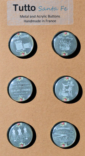 French Paper Buttons with Acrylic Face - Sewing (Gray) - Set of 6 Buttons