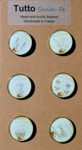 French Paper Buttons with Acrylic Face - Sewing (White) - Set of 6 Buttons