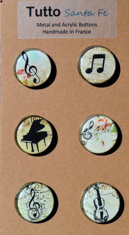French Paper Buttons with Acrylic Face - Music - Set of 6 Buttons