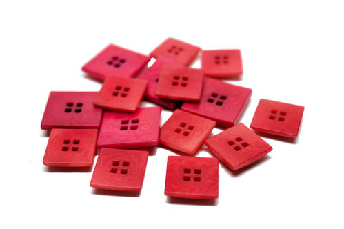 20 or 25 mm Corozo Square Button - Pink