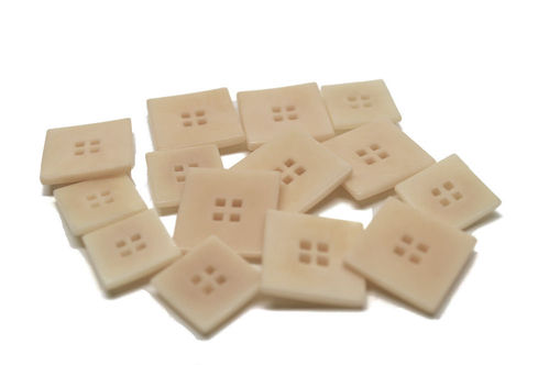 20 or 25 mm Corozo Square Button - Ivory