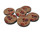30 mm Round Coconut Button w/ Red and Purple Dots